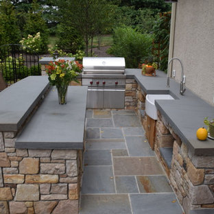 Example Of A Mid Sized Arts And Crafts Backyard Concrete Paver Patio  Kitchen Design In