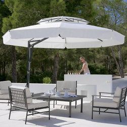 Outdoor Umbrella in Black and White - Black and white offset patio umbrella.