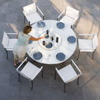 Outdoor White Glass Dining Table - Glass top outdoor dining table has a built in Lazy Susan in the center.