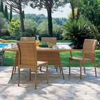 Outdoor Wicker Beach Club Dining Table - Outdoor wicker dining table and chairs for both casual and formal gatherings.