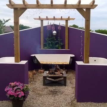 Outside Living area/ Upcycled Baths