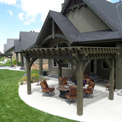 Over Sized Timber Frame Pergola Arbor Gazebo Kits - Oversized pergola kit installed over patio with furniture and fire pit.