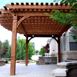 Evans Oversize Pergola Front Entrance Makeover - New durable 18x20 timber frame arbor pergola kit with lighting is installed over the front entryway within a few hours. The roof is designed with an extended overhang for added shade.