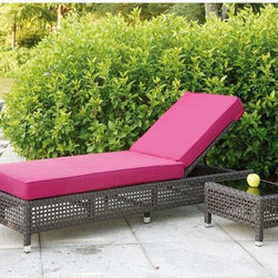 Pacific Outdoor Wicker Chaise Lounge - Pacific Collection outdoor chaise lounge has an open weave design and cushion.