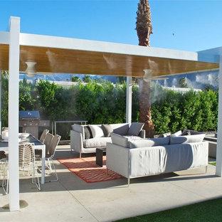 Immagine di un patio o portico minimal di medie dimensioni e nel cortile laterale con un focolare, lastre di cemento e un gazebo o capanno