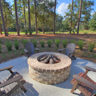 Patio - traditional patio idea in Atlanta with a fire pit