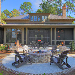 Inspiration for a timeless backyard patio remodel in Atlanta with a fire pit