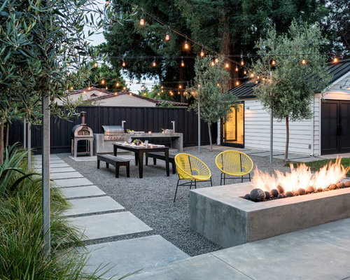 Inspiration For A Contemporary Backyard Gravel Patio Remodel In San  Francisco With A Fire Pit
