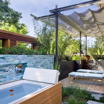Trendy outdoor patio shower photo in San Francisco with decking