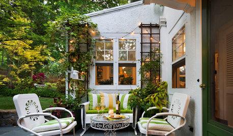 Récup' et mobilier chiné investissent la terrasse pour une déco vintage