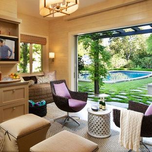 Example of a small eclectic backyard stone patio design in Los Angeles