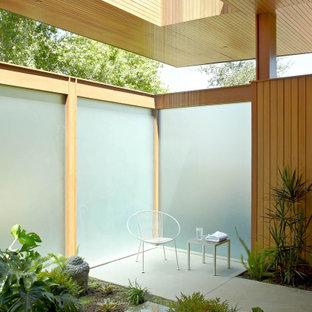 Esempio di un patio o portico moderno con lastre di cemento e un tetto a sbalzo