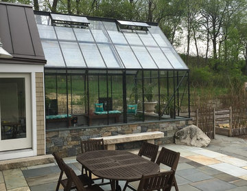 Patio and greenhouse with indoor pool
