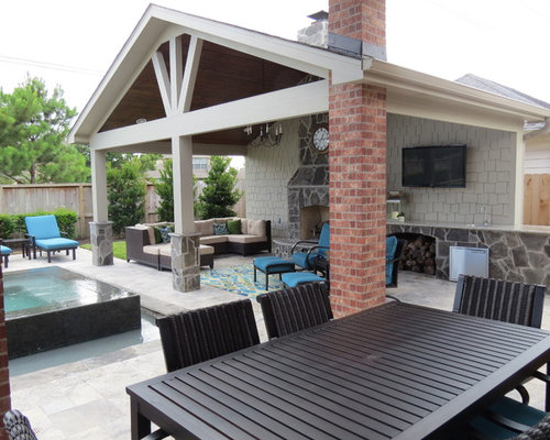 Large Trendy Backyard Stamped Concrete Patio Kitchen Photo In Houston With  A Gazebo