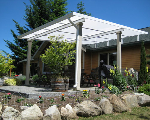 Elegant Patio Cover Shed Style Over Concrete Patio