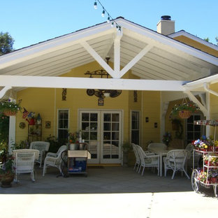 Covered Patio Exposed Beams Gable Roof Ideas Photos Houzz