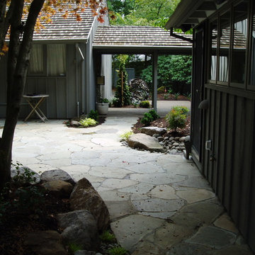 Patio is mortared flagstone Japanese style
