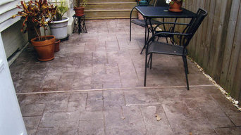 Patio: overlayed, scored, textured & stained