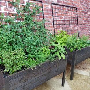 Ejemplo de patio clásico, pequeño, en patio, con jardín de macetas