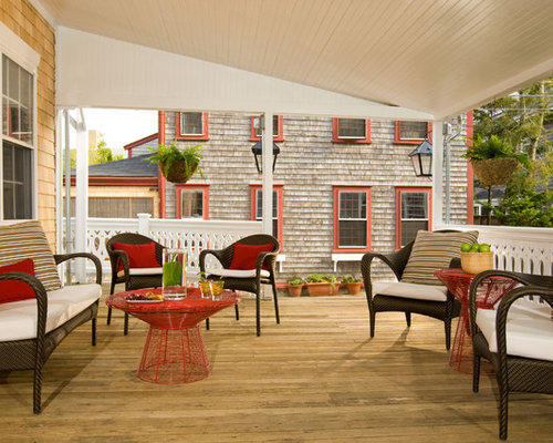 Traditional Backyard Patio Idea In Boston With Decking And A Roof Extension