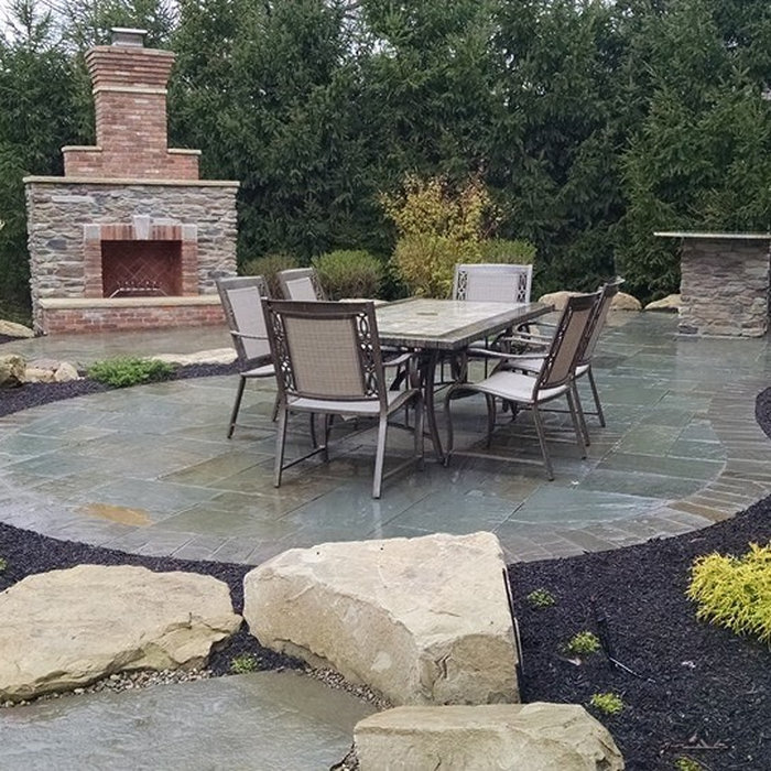 Patio Water Feature and Fireplace