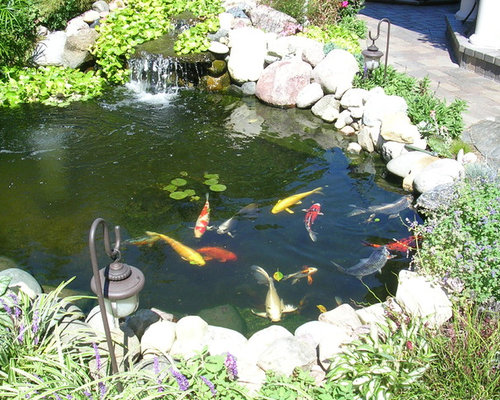 Mediterranean old world veranda patio pond for Balcony koi pond