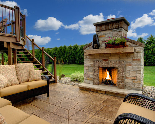 Freestanding outdoor fireplace home design ideas pictures for Fireplace on raised deck