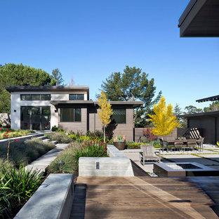 Foto di un ampio patio o portico minimal dietro casa con un focolare, lastre di cemento e nessuna copertura