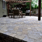 Paver Patio Pergola Fire Pit Seat Wall Lighting