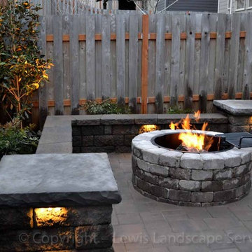 Paver Patio, Seat Wall, Fire Pit, Outdoor Lighting, Landscaping