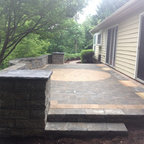 Waterfall Pond With Wood Stained Deck Contemporary