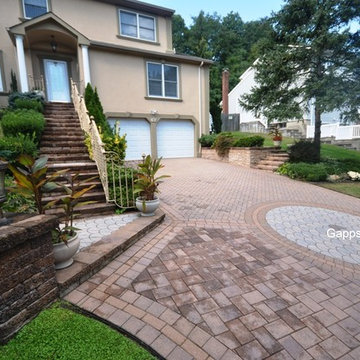 Paving Stone Driveway, Front Door Stairway Custom Designed, Smithtown NY