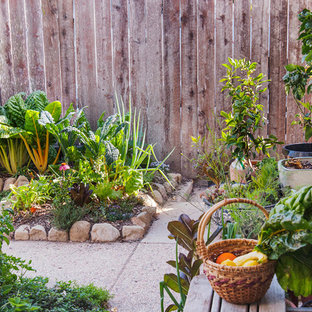 Inspiration for a small traditional backyard patio in Santa Barbara with a vegetable garden and no cover.