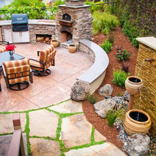 Mediterranean Patio by Sage Ecological Landscapes and Nursery