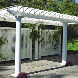 Pergola and Lattice Panels - A freestanding six-column cellular vinyl pergola with cellular vinyl lattice privacy panels captures the imagination, defines an outdoor area, and encourages climbing plants with dignity and style.