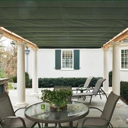 Pergola Canopy View #3 - Make your move to outdoor living seamless. Shade FX affords the comfort of enjoying fine cushioned furniture, overflowing dining tables, and memorable family events free of concern for the weather.