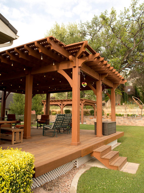 Entertainment Size | Pergola Covered Deck: Lattice Full Wrap ...