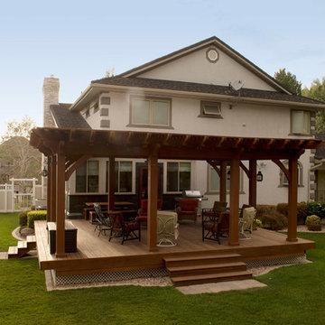 Pergola Covered Deck: Lattice Full Wrap Cantilever Roof