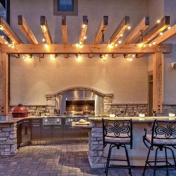 Pergola-Covered Outdoor Kitchen