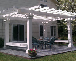 Pergola / Gazebo with Benches - Pergola / Gazebo with Benches also available Landscape Structures such as Gates...Driveway Colonates and all manner of Arbors...Trellises...Window Treatments and Door Surrounds. Harvey August Design Build On-Site