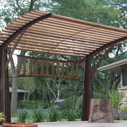 Pergola - Sculptural pergola, shade structure. Weathering steel with cedar slats.