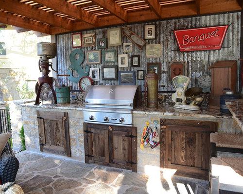 photos et id es d co de terrasses avec une cuisine ext rieure romantiques avec une pergola. Black Bedroom Furniture Sets. Home Design Ideas