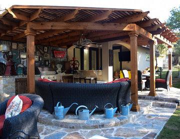 Pergola, Outdoor Kitchen, Fireplace, Flastone Patio