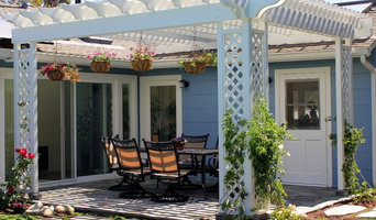 Pergola over Flagstone Patio with Lattice Detail