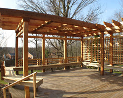 Pergola - This custom pergola was designed by the owner as he worked with the client to determine style and need.  (photo by Greg Matulionis)