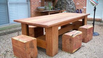 Picnic table with cedar log stools