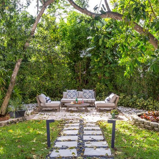 Awesome Example Of A Large Island Style Backyard Concrete Paver Patio Design In  Miami