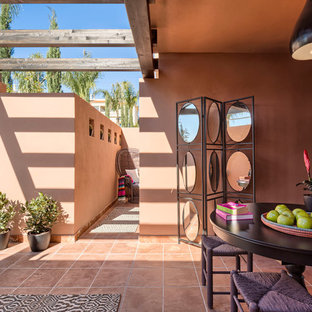 Aménagement d'une terrasse avec des plantes en pots avant sud-ouest américain de taille moyenne avec une extension de toiture et du carrelage.