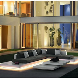 Platform Lighted Outdoor Sectional Sofa - The Platform outdoor sectional sofa has optional LED lighting along the bottom of each section.
