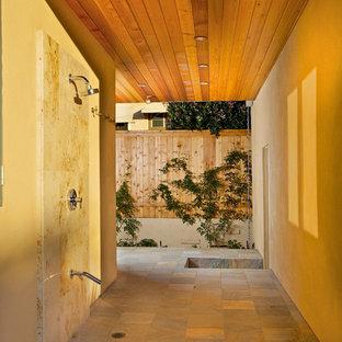 Esempio di un patio o portico minimal di medie dimensioni e nel cortile laterale con pavimentazioni in pietra naturale e un tetto a sbalzo